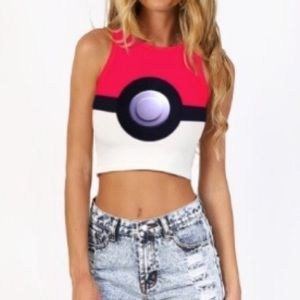 NEW✨ Pokémon Pokeball Red & White Crop Top Costume